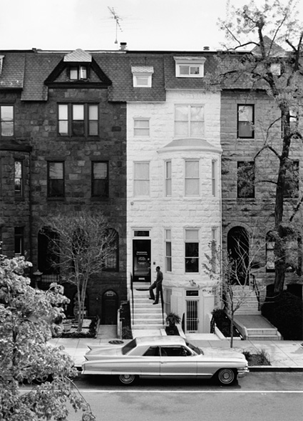 Townhouses and Cadillac, R Street, Dupont Circle. Photographed in 2011